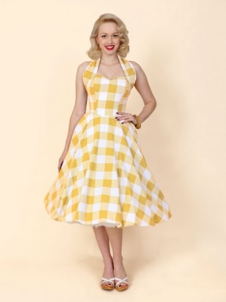 50s-1950s-Vivien-of-Holloway-Best-Vintage-Reproduction-Halterneck-Circle-Dress-Yellow-White-Gingham-Check-Print-Rockabilly-Swing-Pinup