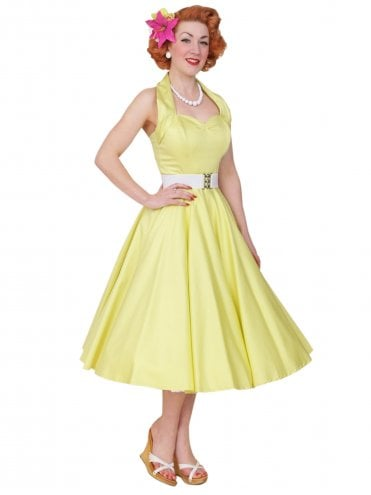 50s-1950s-Vivien-of-Holloway-Best-Vintage-Reproduction-Halterneck-Circle-Dress-Lemon-Yellow-Sateen-Rockabilly-Swing-Pinup