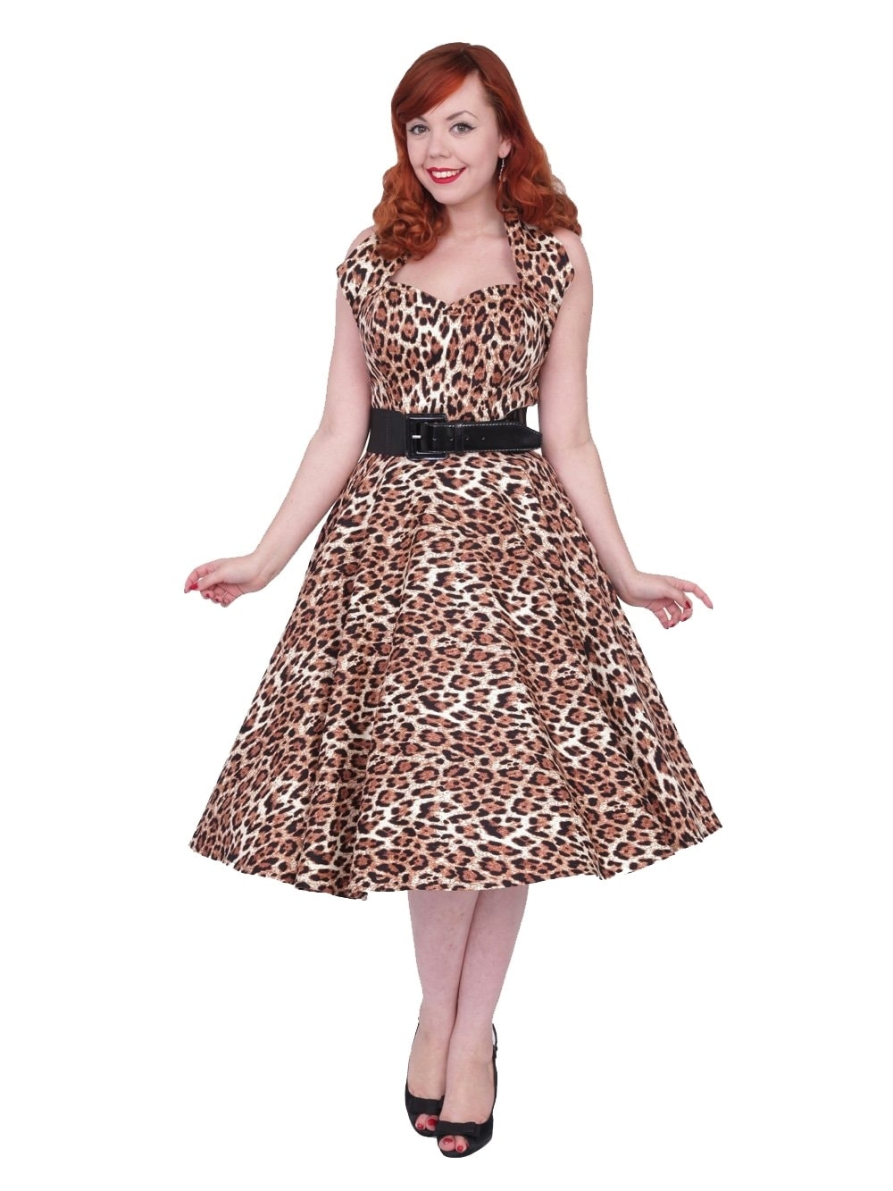 ff0cb14fdc1 1950s Halterneck Leopard Brown Dress from Vivien of Holloway