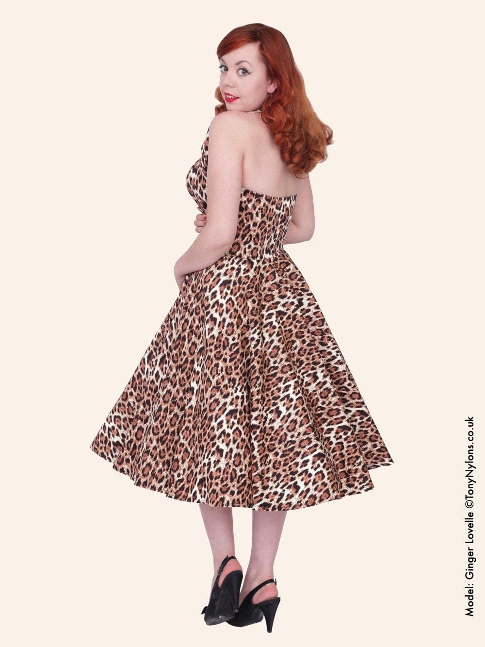 6a6678a95a 1950s Halterneck Leopard Brown Dress from Vivien of Holloway