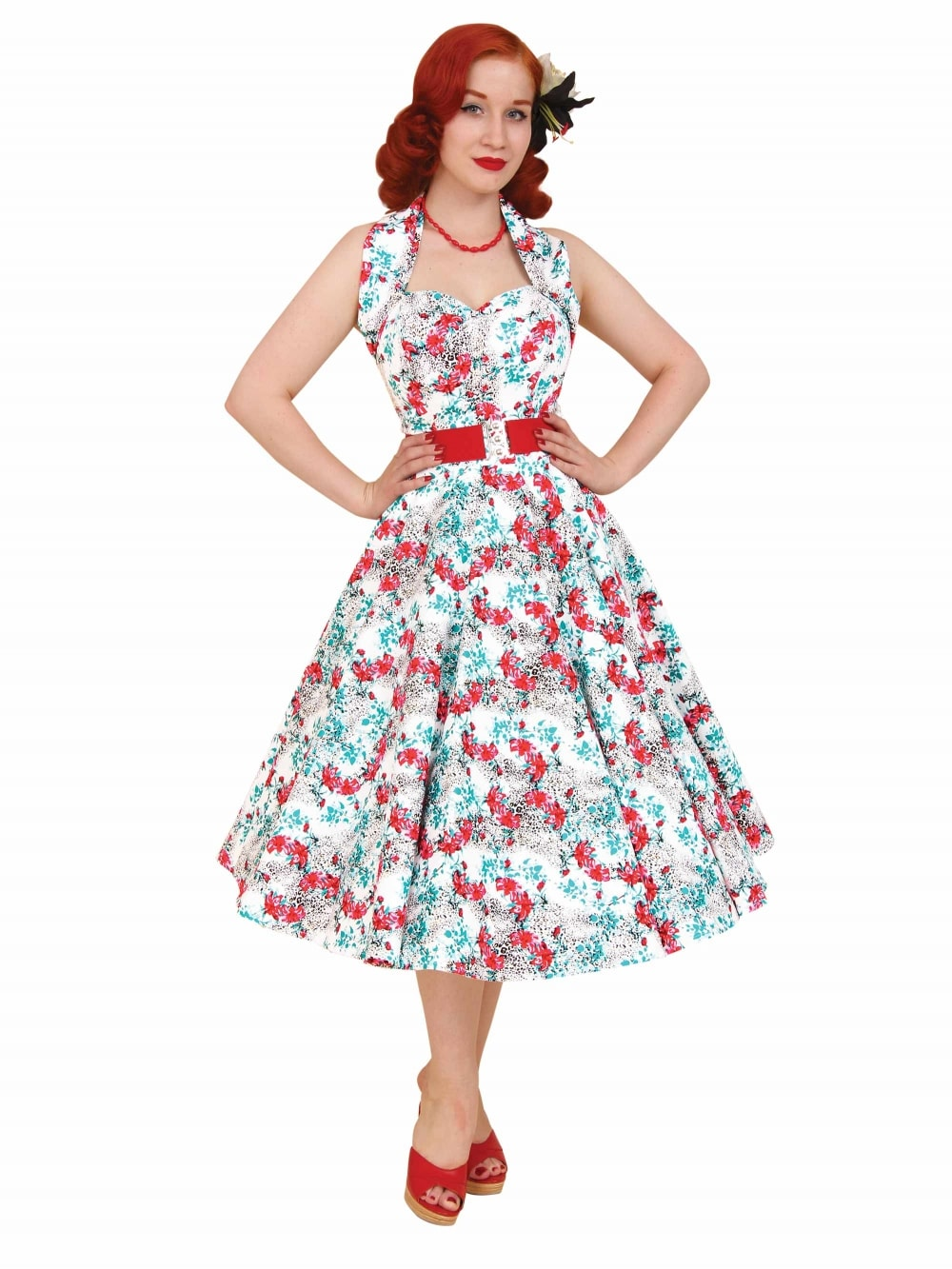 f98c6e1058a0 1950s Halterneck Leopard Lily Dress from Vivien of Holloway