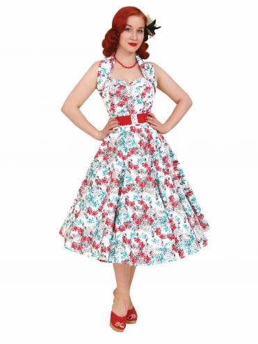50s-1950s-Vivien-of-Holloway-Best-Vintage-Reproduction-Halterneck-Circle-Dress-Leopard-Lily-White-Floral-Print-Rockabilly-Swing-Pinup