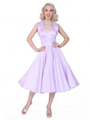 1950s Halterneck Lilac Duchess Dress
