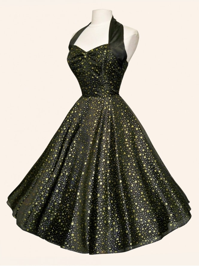 50s-1950s-Vivien-of-Holloway-Vintage-Reproduction-Halterneck-Circle-Dress-Luxury-Black-Satin-Gold-Silver-Stars-Rockabilly-Swing-Pinup