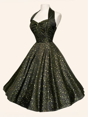 1950s Halterneck Luxury Black Satin Gold Stars Silver Dots Dress
