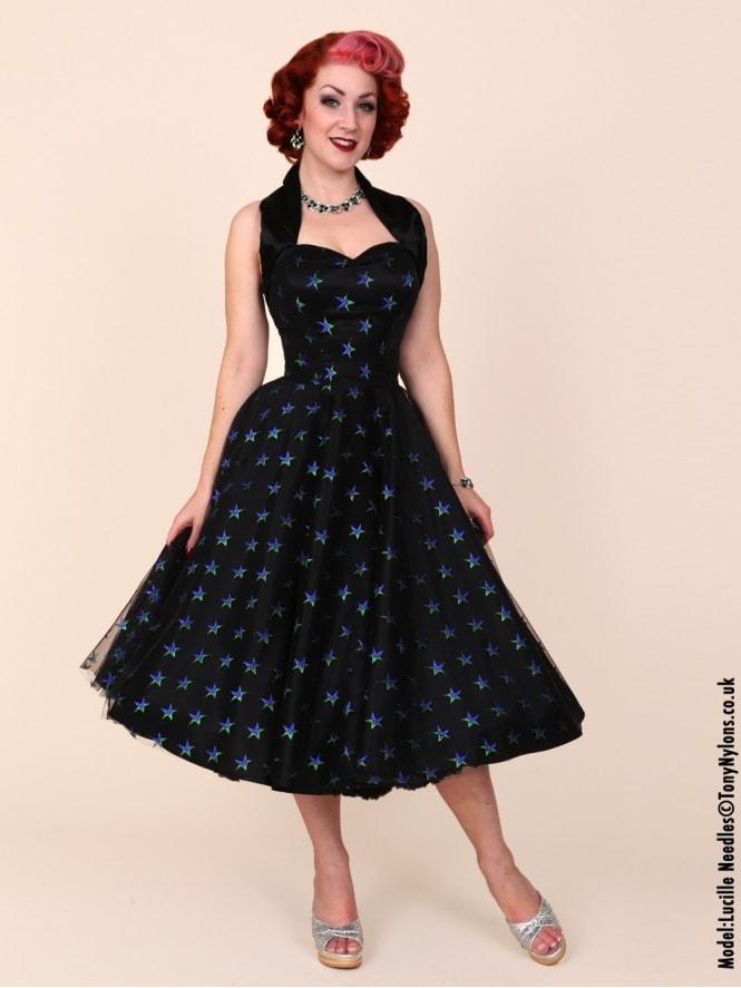 1950s Halterneck Luxury Black Satin Green Blue Stars Dress