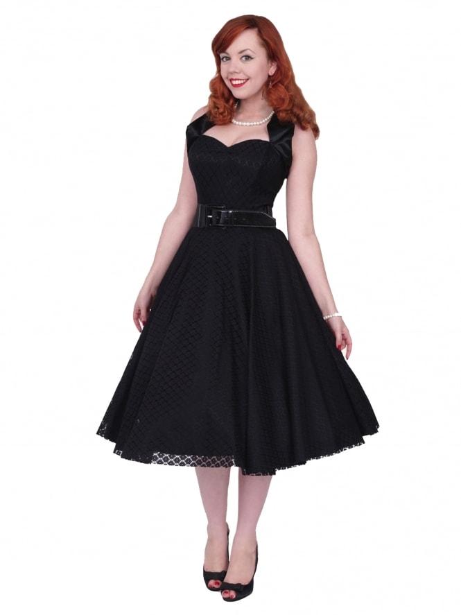 1950s Halterneck Luxury Black Satin Lace Dress From Vivien