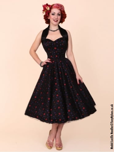 50s-1950s-Vivien-of-Holloway-Best-Vintage-Reproduction-Halterneck-Circle-Dress-Black-Satin-Red-Purple-Dots-Rockabilly-Swing-Pinup