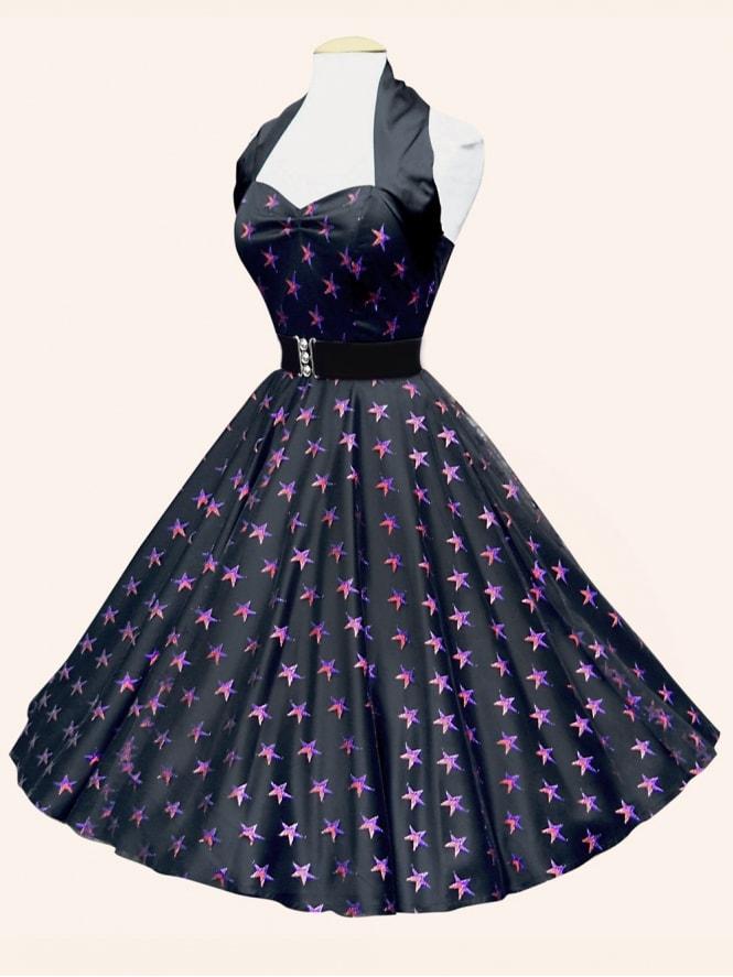 1950s Halterneck Luxury Black Satin Red Purple Stars Dress