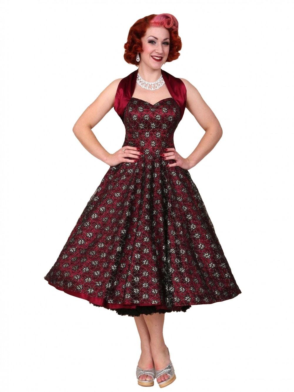114bc16ee 1950s Halterneck Luxury Burgundy Black Lace Dress Vivien of Holloway