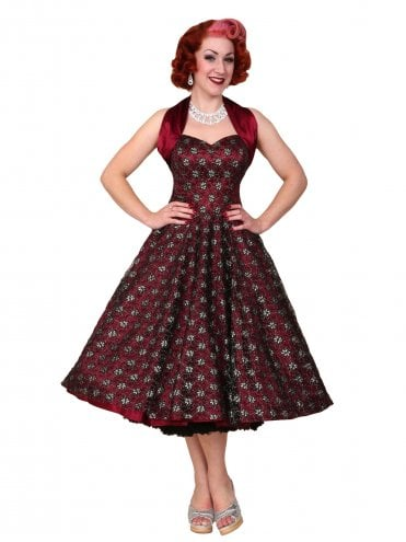 50s-1950s-Vivien-of-Holloway-Best-Vintage-Reproduction-Halterneck-Circle-Dress-Luxury-Burgundy-Black-Silver-Lace-Rockabilly-Swing-Pinup