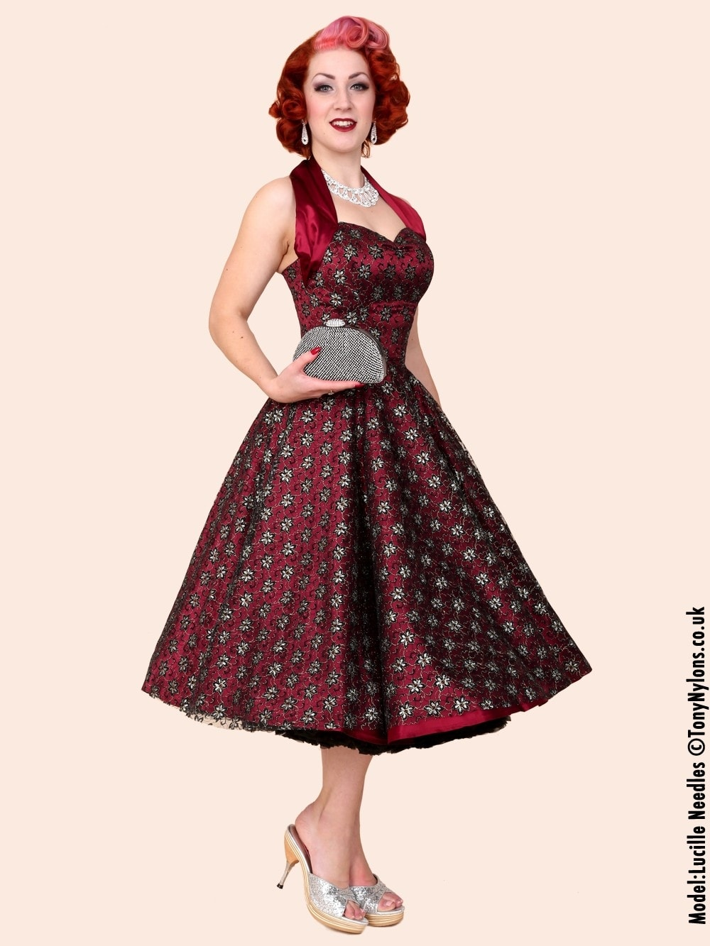 0045e025 1950s Halterneck Luxury Burgundy Black Lace Dress Vivien of Holloway