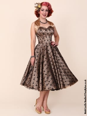1950s Halterneck Luxury Champagne Lace Dress