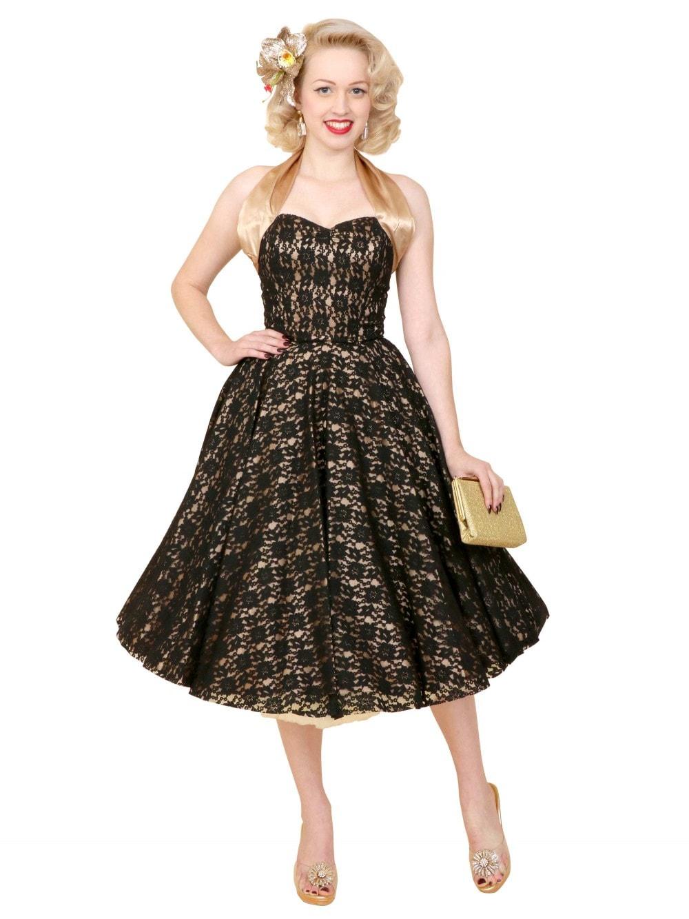 ad8284eaf39 1950s Halterneck Luxury Champagne New Black Lace Dress from Vivien ...