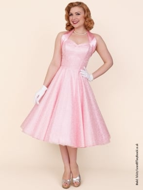 1950s Halterneck Luxury Ivy Lace Pink Dress