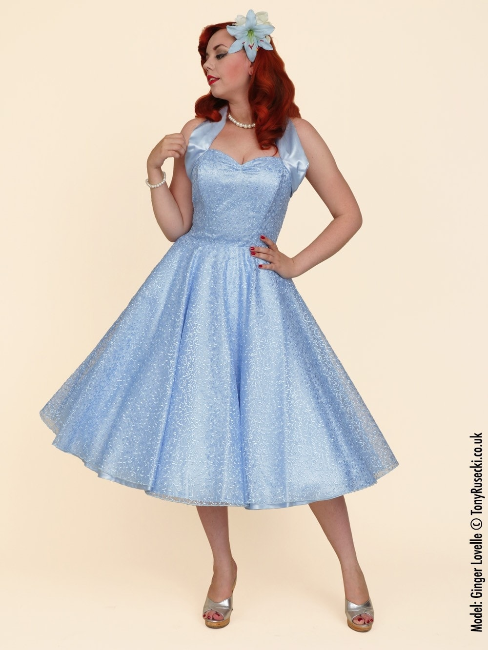 1950s Halterneck Luxury Ivy Lace Powder Blue from Vivien of Holloway