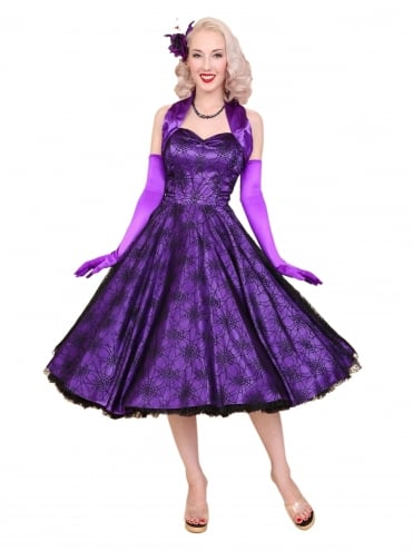50s-1950s-Vivien-of-Holloway-Best-Vintage-Reproduction-Halterneck-Circle-Dress-Purple-Black-Satin-Spiderweb-Lace-Halloween-Rockabilly-Swing-Pinup
