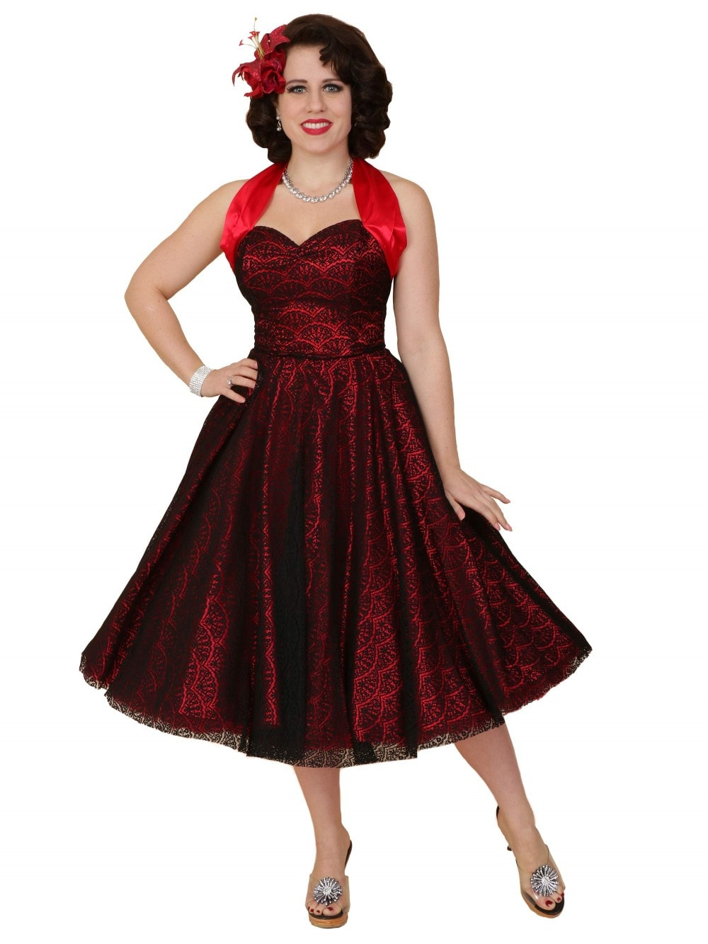 e6cb20624f2 1950s Halterneck Luxury Red Satin Fan Lace Dress From Vivien of Holloway