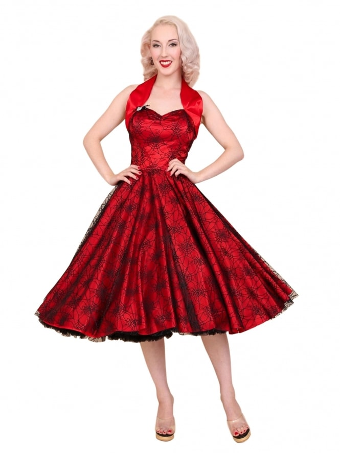 1950s Halterneck Luxury Red Satin Spiderweb Dress