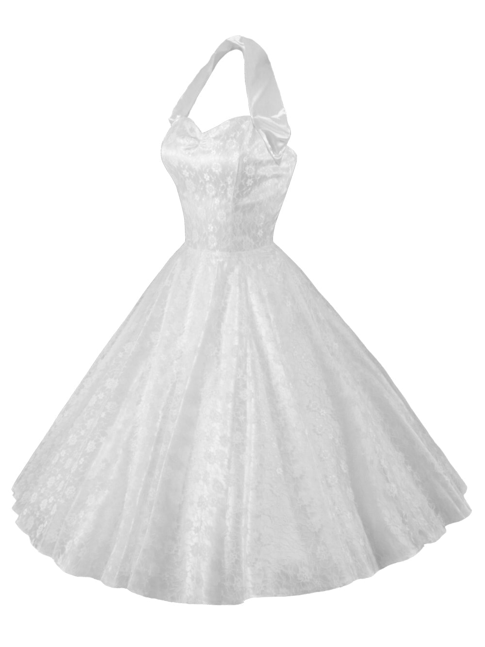 1950s Halterneck Luxury White Satin Lace Dress From Vivien