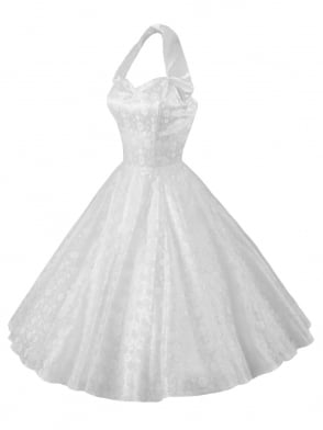 1950s Halterneck Luxury White Satin Lace Dress