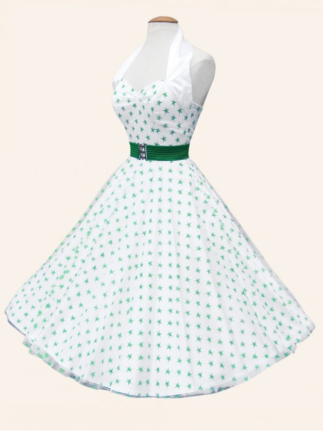 1950s Halterneck Luxury WhiteSatin GreenStars Dress