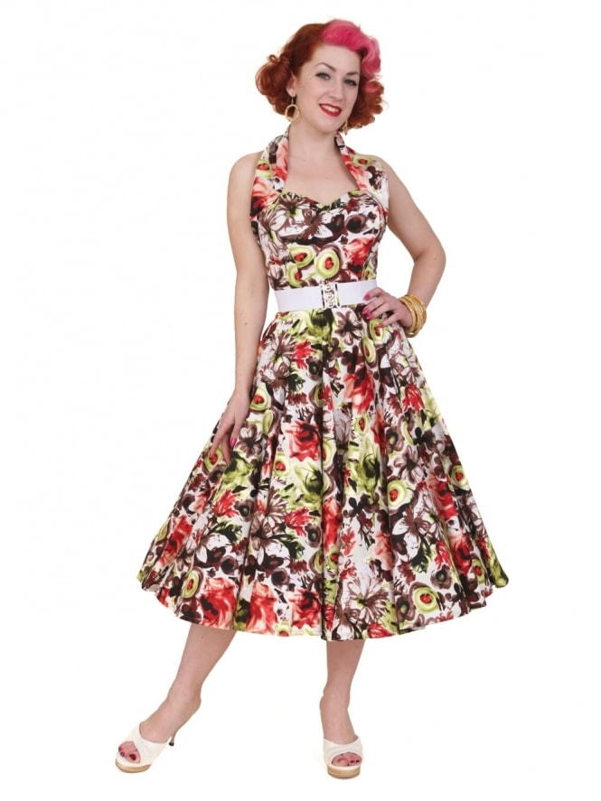 50s-1950s-Vivien-of-Holloway-Best-Vintage-Reproduction-Halterneck-Circle-Dress-Mexicali-Rose-Floral-Print-Rockabilly-Swing-Pinup