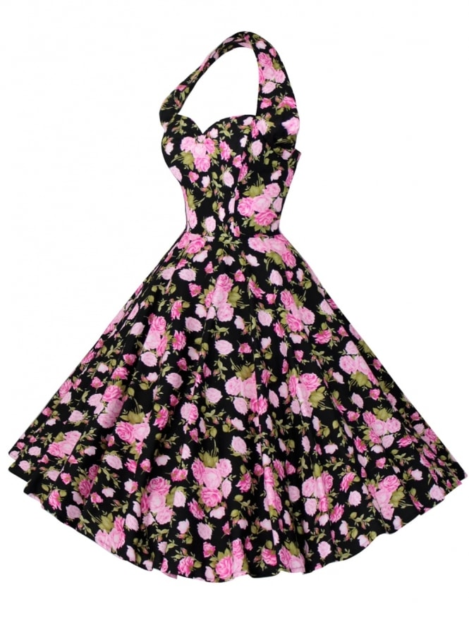 1950s Halterneck Midnight Rose Dress