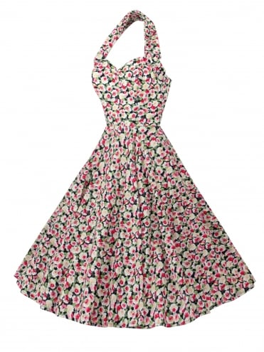 1950s Halterneck Mini Rose Black