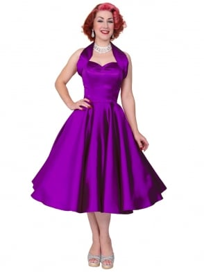 1950s Halterneck Mulberry Duchess Dress