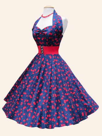 1950s Halterneck Navy Cherry Sateen Dress