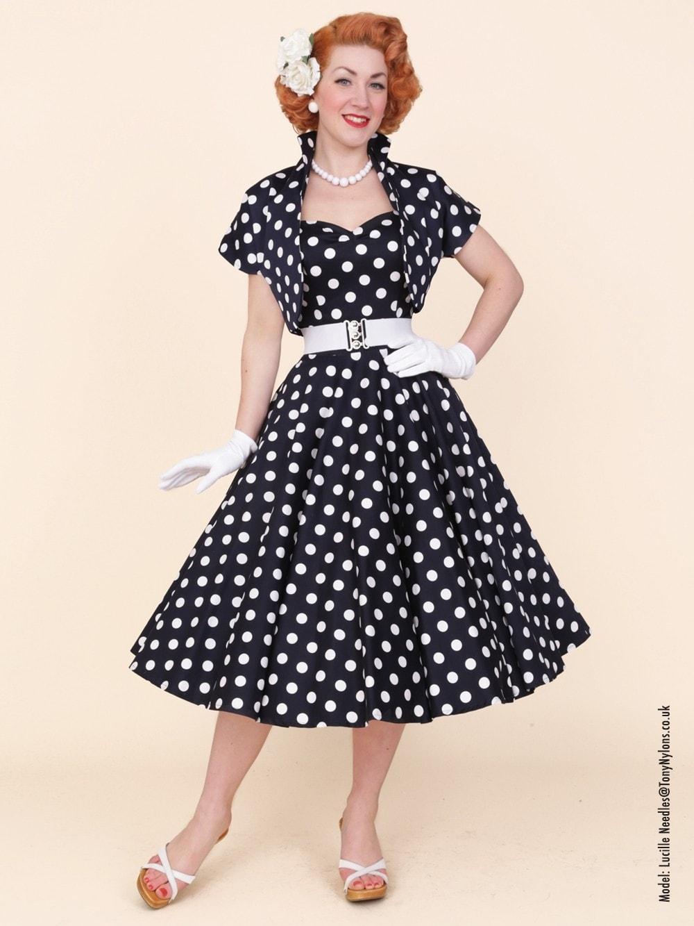 1950s Halterneck Navy Polkadot Dress from Vivien of Holloway