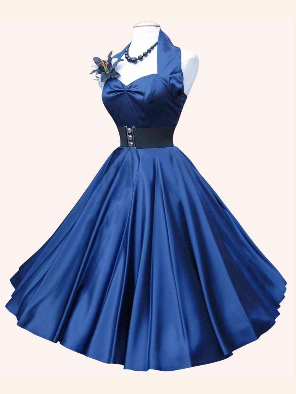 1950s Halterneck Navy Satin Dress From Vivien Of Holloway