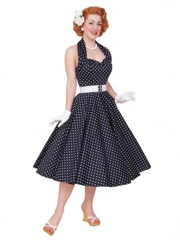 db37c8d2 1950s Halterneck Navy White Spot Dress