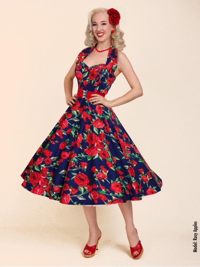 50s-1950s-Vivien-of-Holloway-Best-Vintage-Reproduction-Halterneck-Circle-Dress-Red-Rose-Navy-Floral-Print-Rockabilly-Swing-Pinup