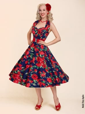 1950s Halterneck New Rose Navy Dress