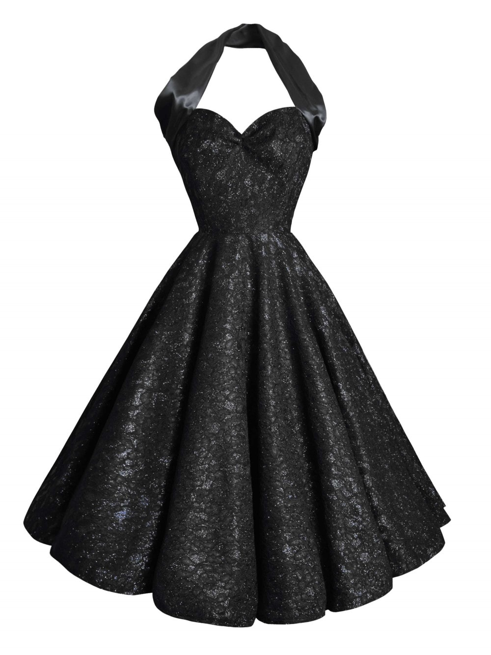 fd9c2602 1950s Halterneck Black Duchess Dress from Vivien of Holloway