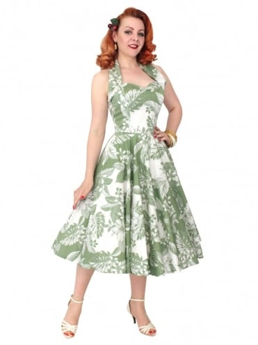 1950s Halterneck Oahu Sage Dress