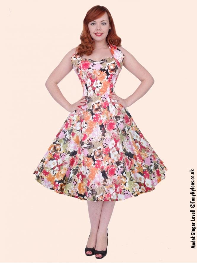 50s-1950s-Vivien-of-Holloway-Best-Vintage-Reproduction-Halterneck-Circle-Dress-Orange-Meadow-Floral-Print-Rockabilly-Swing-Pinup