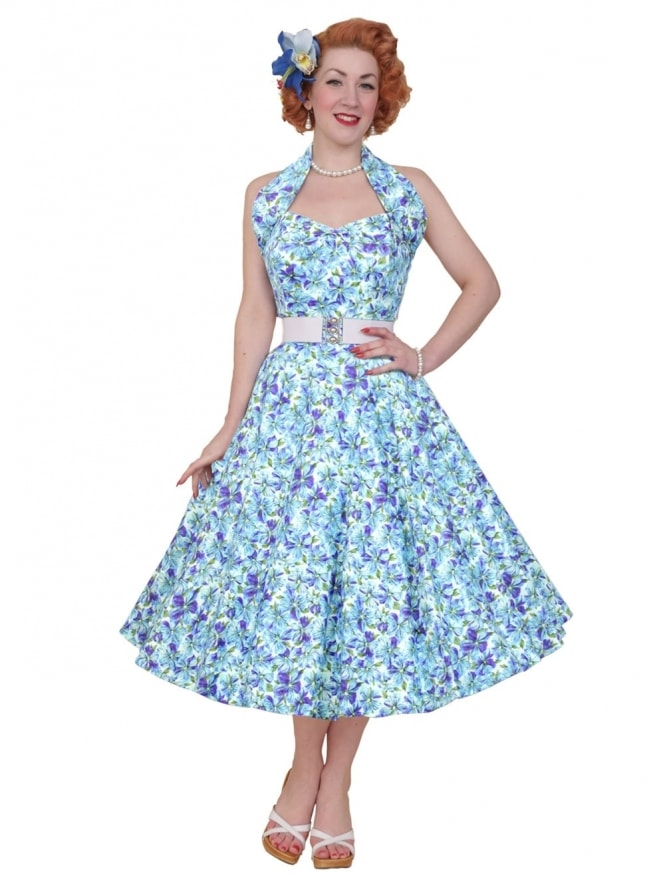 50s-1950s-Vivien-of-Holloway-Best-Vintage-Reproduction-Halterneck-Circle-Dress-Pansy-Blue-Floral-Print-Rockabilly-Swing-Pinup