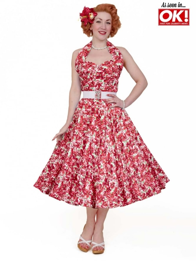 50s-1950s-Vivien-of-Holloway-Best-Vintage-Reproduction-Halterneck-Circle-Dress-Pansy-Red-Floral-Print-Rockabilly-Swing-Pinup