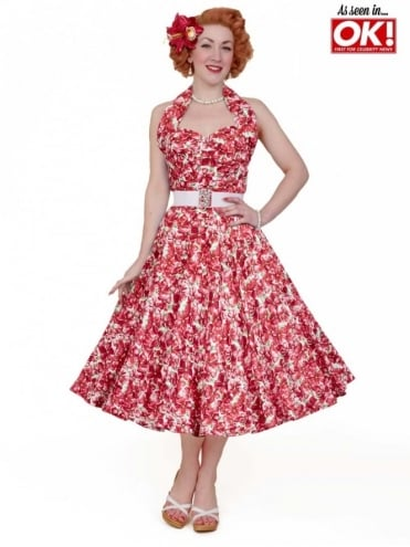 1950s Halterneck Pansy Red Dress