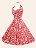 1950s Halterneck Pansy Red Dress