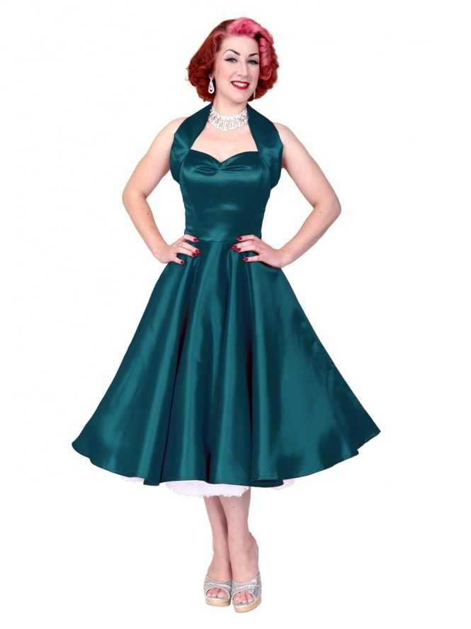 1950s Halterneck Petrol Duchess Dress