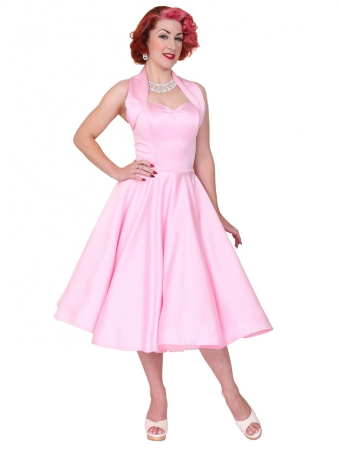 50s-1950s-Vivien-of-Holloway-Best-Vintage-Reproduction-Halterneck-Circle-Dress-Pale-Pink-Duchess-Rockabilly-Swing-Pinup