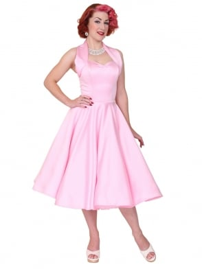 1950s Halterneck Pink Duchess Dress