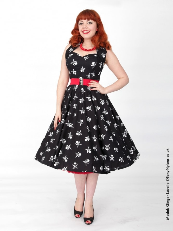 50s-1950s-Vivien-of-Holloway-Best-Vintage-Reproduction-Halterneck-Circle-Dress-Black-White-Pirate-Print-Rockabilly-Swing-Pinup