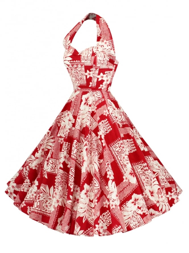 1950s Halterneck Polynesian Island Red Dress