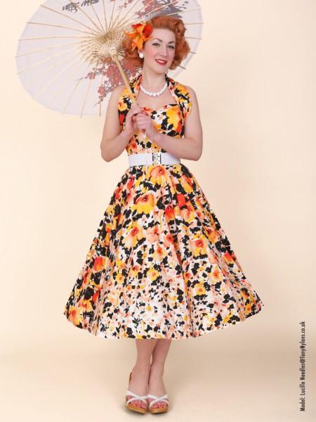 c65450b1 1950s Halterneck Poppy Peach Dress from Vivien of Holloway