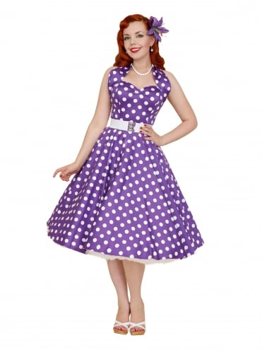 50s-1950s-Vivien-of-Holloway-Best-Vintage-Reproduction-Halterneck-Circle-Dress-Purple-Polkadot-Rockabilly-Swing-Pinup